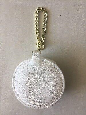 Betsey Johnson Handbag Charm Key Chain Faux Leath White Bone Rose Flower NEW****