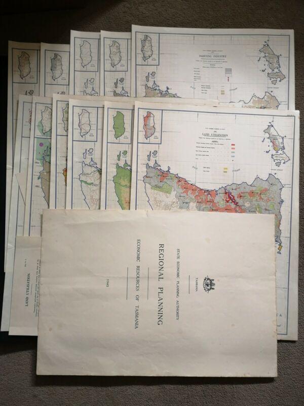 11 large maps from Regional planning Economic Resources of Tasmania 50*37 cm