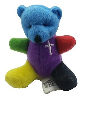 Rainbow Faith cross Teddy Plush Bear TUSH TAG purple,blue,red,yellow,black green