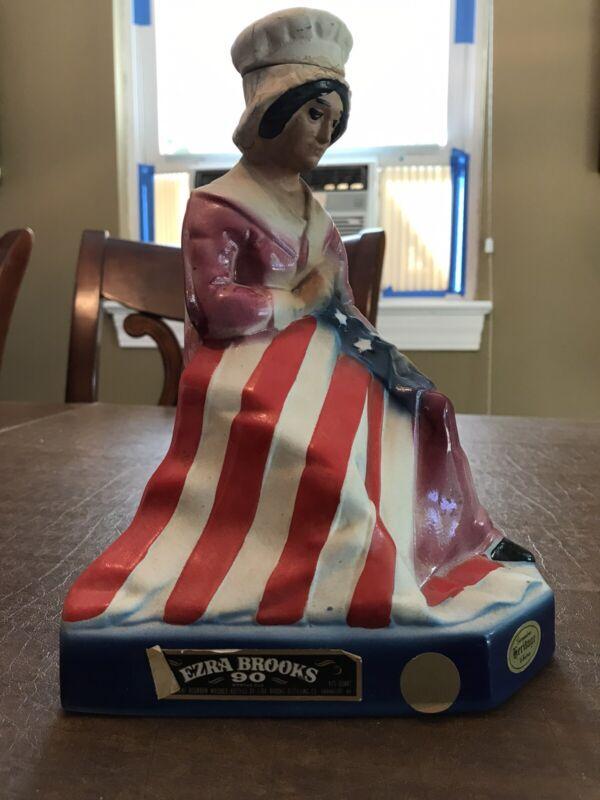 "Vintage Ezra Brooks Whiskey Decanter "" Betsy Ross"" 1975 4/5 quart 90 proof"
