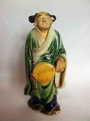 "Vintage Antique Chinese Mud Man - Unmarked, 4"" Green Man w/ Musical Instrument"