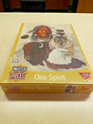 Master Pieces 550 Pc Jigsaw Puzzle ONE SPIRIT AMERICAN INDIAN Buffalo Wolf Eagle, used for sale  Dwight