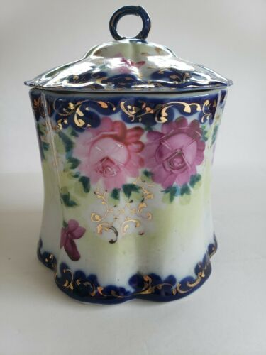 Antique biscuit cracker jar unmarked damaged repaired handle hand painted beauty