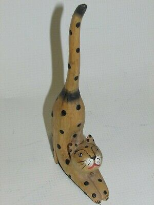 **LOOK** Superb Antique Handcarved Wooden Cat Leopard Figure - FREE P+P