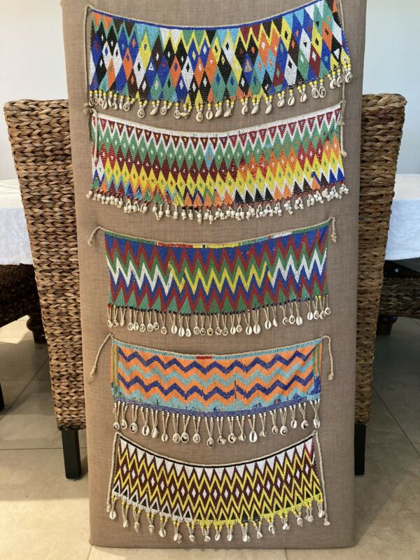 Lot of 5 beautiful African beaded aprons, cache sex, Africa, Cameroon, Kirdi