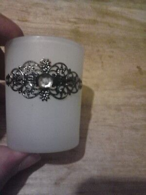 Frosted Votive Candle Holder W/ Flower type Design
