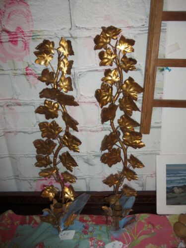 Italian Gold Leaf Toleware Wall Sconces Candle Holders Pair