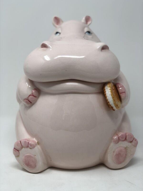 Vintage 1980's Fitz And Floyd Ceramic Hippopotamus Cookie Jar Pale Pink Animal