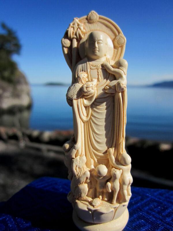 """LARGER 5+"""" INCREDIBLY BEAUTIFUL JIZO JAPANESE ZEN MONK BUDDHIST BODHISATTVA USA"""