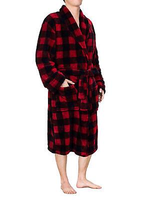 Men Warm Fleece Robe Microfiber Bathrobe Shawl Collar Long Spa Robe -