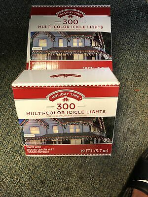 LOT OF 2 Holiday Time Multicolor Icicle Christmas Lights Set, 300 Count Ea