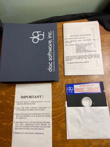Original 1985 - DAC Easy Accounting Software (& Manual/Case, 5-1/4 inch floppy)