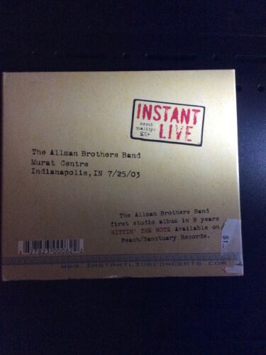 The Allman Brothers Band Instant Live Indianapolis 7/25/03 CD, 2003, 3 Discs  - $39.99