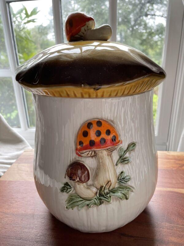 """Vintage SEARS 1978 MERRY MUSHROOM Large 10 1/2"""" Tall Canister/Cookie Jar w/ Lid!"""