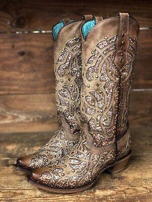 Corral Womens Orix Brown Glittered Inlay   Studs Snip Toe Boots C3331