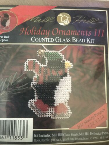Mill Hill Beaded Cross Stitch Kit Holiday Ornaments III Skat
