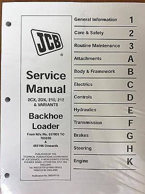 Jcb Service 2cx 2dx 210 212 Backhoe Loader Manual