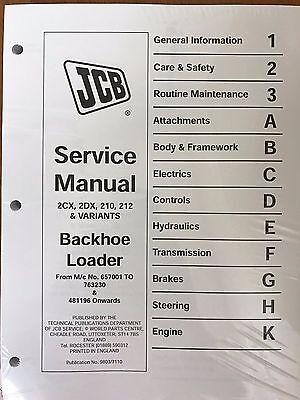 Jcb Service 2cx 2dx 210 212 Backhoe Loader Manual