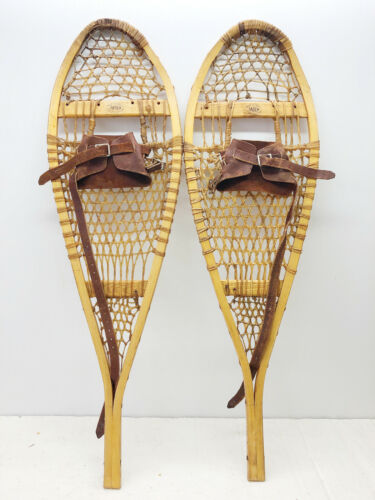 Antique Vintage 11 X 37 Kid Child FABER Snowshoes Usable Or Decor FREE SHIPPING