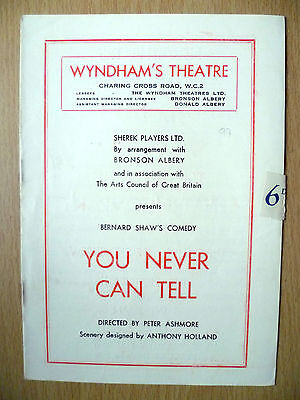 1947 Wyndham's theatre Programme- YOU NEVER CAN TELL by Bernard Shaw