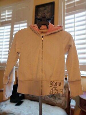 John Galliano Girls Faux Fur Hoodie With Rhinestones Girls Size 8