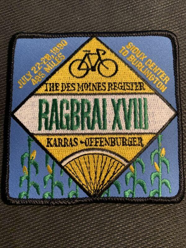 1990 RAGBRAI XVIII Sew on Patch Des Moines Iowa Cycling Biking - Free Shipping