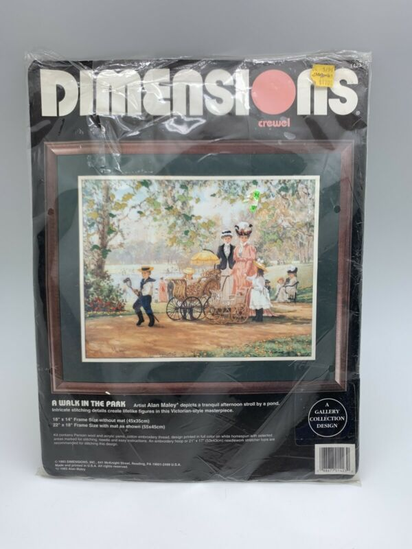 "1993 Dimensions A Walk In The Park Crewel Kit #1423 New Opened Packaging 18""x14"""