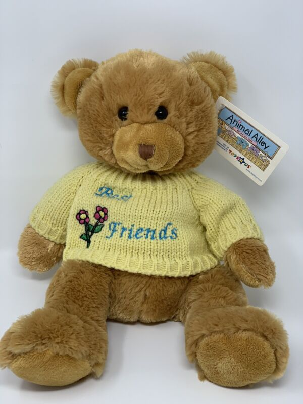 """Animal Alley Teddy Bear Brown Yellow Sweater Beat Friends 14"""" New W/ Tags"""