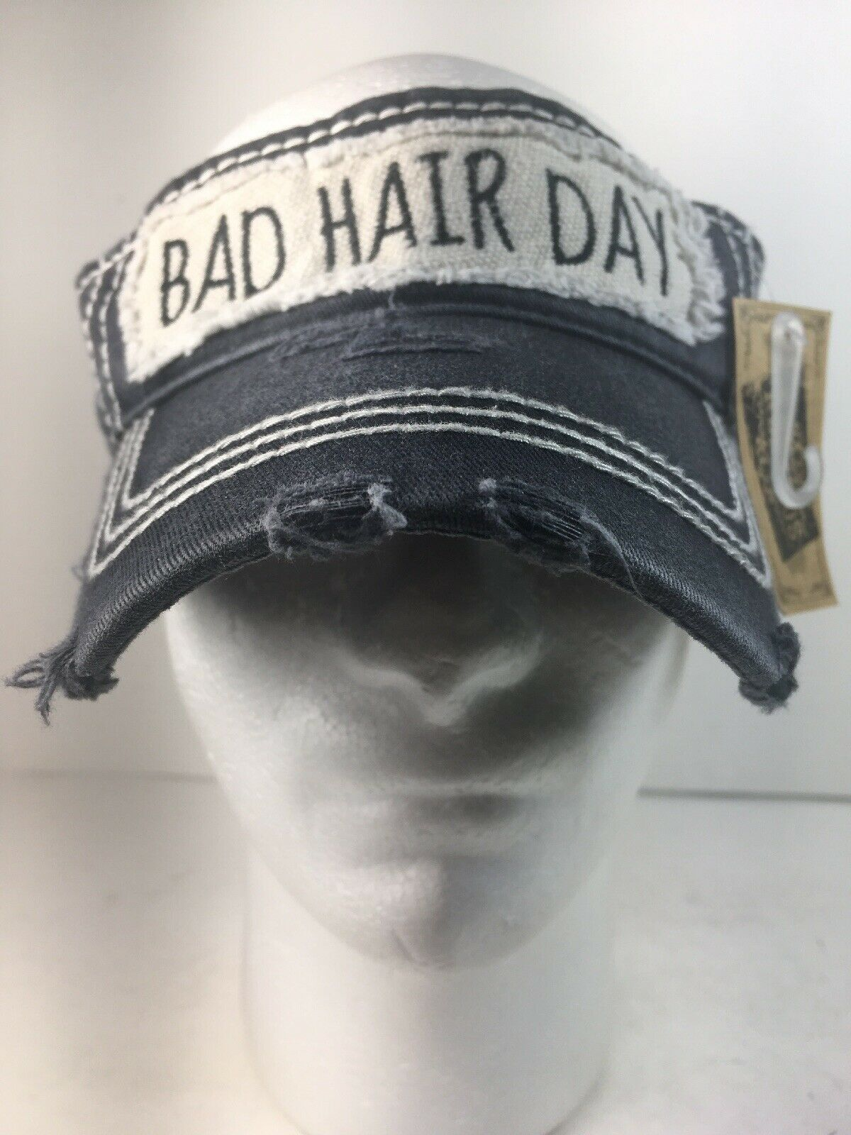 KBETHOS Vintage Distressed Adjustable Visor BAD HAIR DAY Was