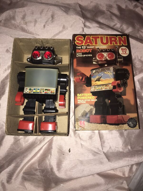 Kamco SATURN #1981 Vintage Toy Robot IN ORIGINAL BOX WORKING vision toys SPUTNIK