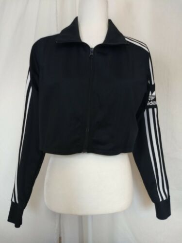 Adidas Black White Cropped Zip Front Track Jacket Trefoil Triple Stripe Small