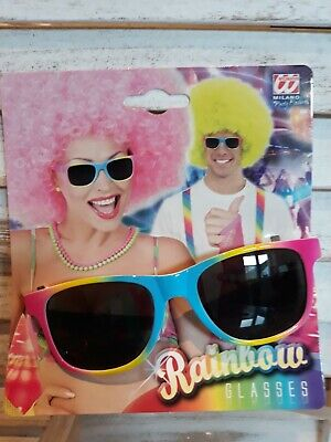 Brille Rainbow Regenbogen Neon Sonnenbrille Festival Club Schlager Karneval NEU!