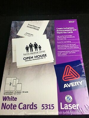 New Avery Note Cards 4 14 X 5 12 Laser Printer 5315 50 Cards 50 Envelope