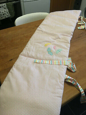 Baby girl padded pink cot bumper 33cm x 165cm Mothercare for sale  Shipping to South Africa