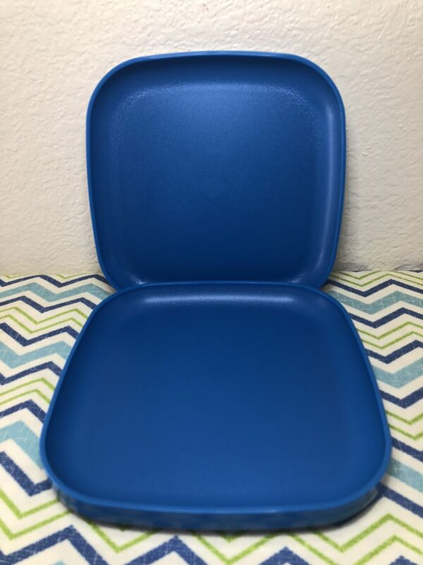 "Tupperware Square Luncheon Plates 8"" Blue Set Of 4 Plates New"