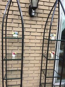 Two Outdoor metal Decorative Shelves