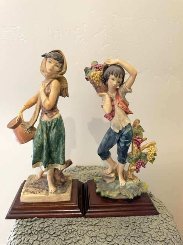 """VTG TOSCANY 12"""" Girl & Boy Basket Figurines Made in Italy RARE"""