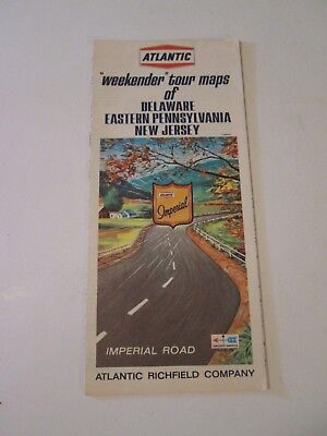 Vintage Atlantic Delaware Eastern Pennsylvania New Jersey Weekender Road Map