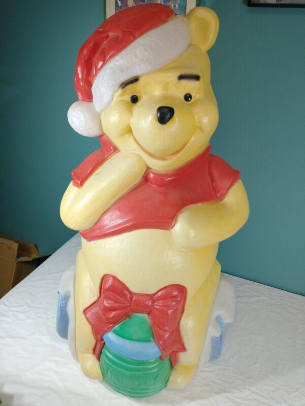 "Blow Mold Winnie Pooh Walt Disney Vtg Santa Best 34"" Hope Light Up Yard Figure"