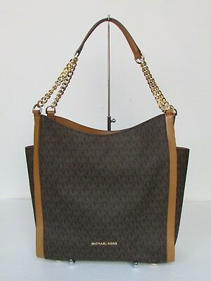 49196da52f68d1 Michael Kors Newbury Brown Medium Chain Shoulder Tote Handbag Purse $328