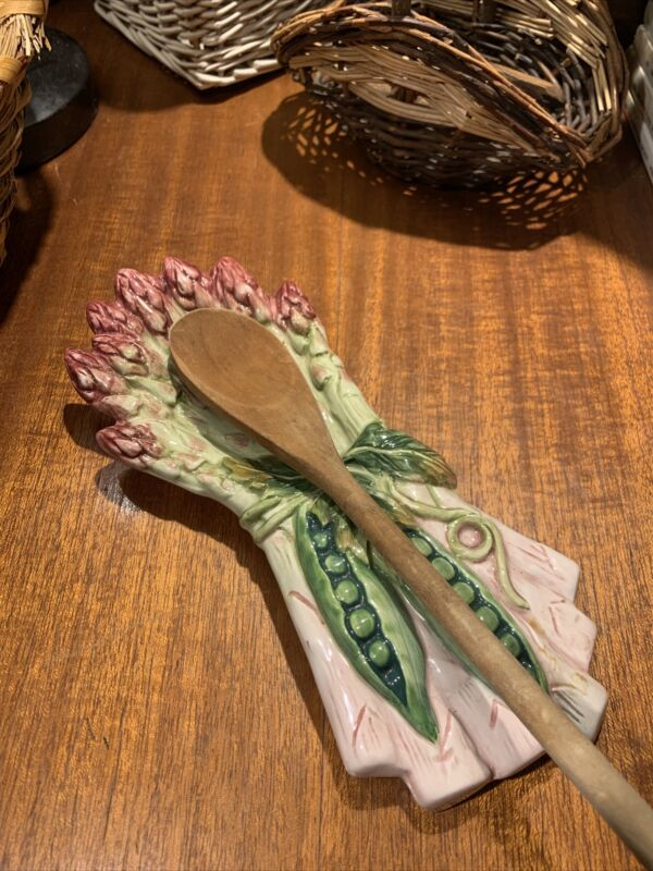 Majolica Like Pottery Spoon Rest~Asparagus And Sweet Peas~Lovely~Gift