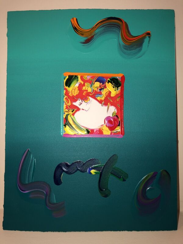 "Peter Max, ""FLOWER BLOSSOM LADY"" Mixed Media Signed Painting"