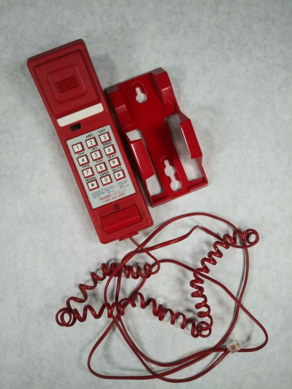 Vintage Red Kinetic Sears Push-Button Wall-Mount Telephone MCM Works See Photos