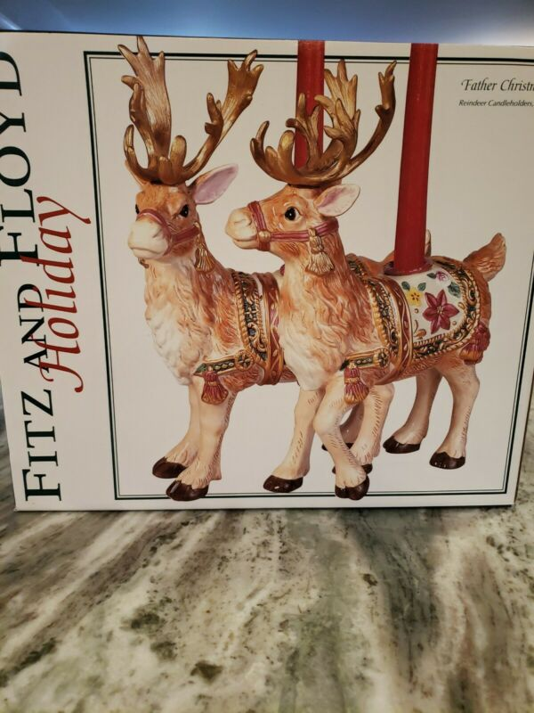 """Fitz and Floyd Father Christmas Reindeer Candle Holders Pair 12"""" W/ Box #19/1030"""