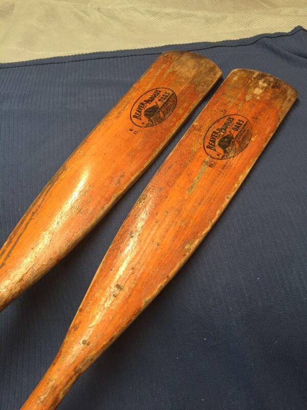 "Vintage 72"" Wood Beaver Paddle Oar Set Pair Row Boat Cabin Lake Cottage Decor 6'"