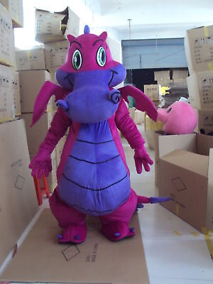 Halloween Pink Fire Dragon Mascot Costume Adults Cosplay Party Game Dress New (Pink Dragon Costume)