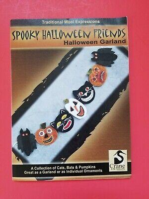 Wool Applique Pattern - Spooky Halloween Friends - Garland