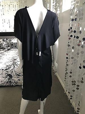 NWT $2,250 Lanvin Silk Drape Crepe Dress In Midnight Blue Sz 48 16 3X
