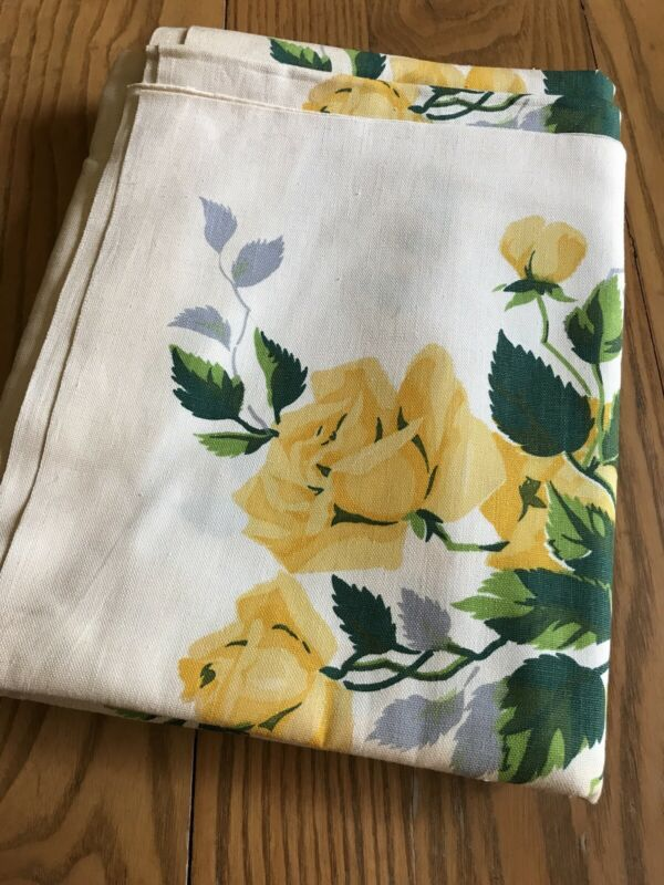 "Vintage Wilendur 35"" Cotton Tablecloth Fabric ~Yellow Roses  ~ 4 1/2 yards"
