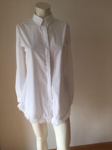 UTERQUE Klassiker weisse Bluse Hemd Boyfriendhemd mit Fransen weiss S